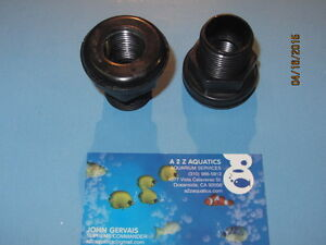 "1"" Bulkhead Fitting - Thread x Socket - High Quality Black ABS"