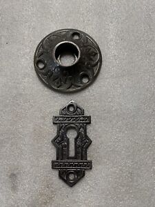 Eastlake Highly Stylized  Backplate Cast Iron And Keyhole Cover