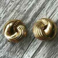 Vintage High End Gold Tone Metal Clip-On Earrings 80s Signed Monet