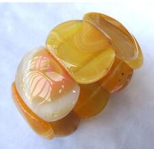 Yellow Botswana Agate Oval Beads Stretch Bracelet 28×38mm