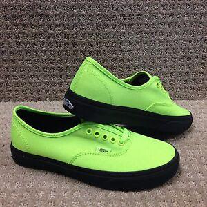 """Vans Men/Women's Shoes """"Authentic """" (Black Outsole) Neon Green/Black"""