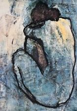 BLUE NUDE CLASSIC ART PRINT BY PABLO PICASSO 24x32 blue period woman poster