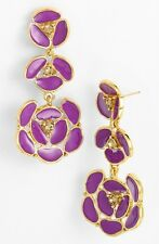 "Kate Spade ""DISCO PANSY"" VIOLET PURPLE PETALS  BRIDAL EARRINGS CHANDELIER DROP"