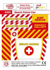 ❤️ Beach Patrol Rescue Car Pack ❤️ Sticker Fit For lego Tiles, Plates /6305