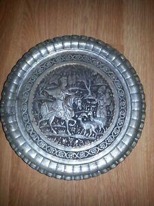 Antique Persian Qajar Qalam Zani Repousse Copper Wall Plate