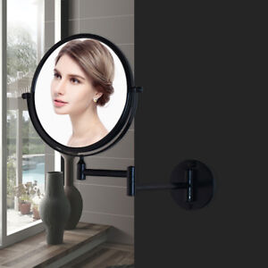 Black Space aluminum Bathroom Folding Extend Magnify 3X Makeup Mirror Wall Mount
