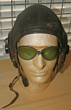 WW2 US ARMY AIR FORCE A-11 Leather Flight Helmet Size Large With Ear Pieces