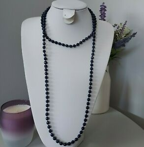Retro Gatsby Blue Round Faceted Plastic Beaded String Flapper Long Necklace