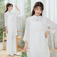 Womens Yoga Tai Chi Sets Tang Suit Outfit Meditation Martial Arts Kung Fu Suit