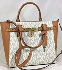 MICHAEL KORS HAMILTON TRAVELER LARGE  MK SIGNATURE VANILLA BROWN STUDDED  TOTE