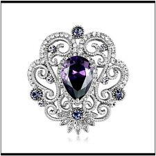 Gorgeous Silver Plated with Purple Rhinestone Center Gift Brooch Pin