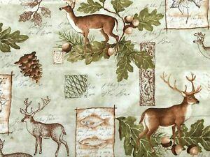 """Susan Winget """"Scenic"""" 20"""" X 40"""" Deer Outdoor Fishing Acorn Cotton Fabric"""