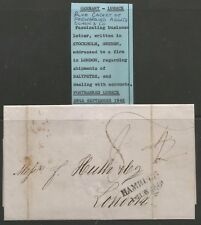 1846 INTERESTING BUSINESS LETTER SENT FROM SWEDEN TO LONDON SEE SCANS
