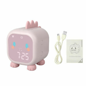 Cute Dinosaur Digital Alarm Clock Kid Sleep Trainier LED Desktop Night Light New