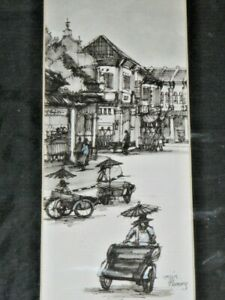 2 Busy Penang Street Scenes Black Pencil Sketch Prints Signed Min Mounted Ready