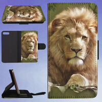 LION FLIP WALLET CASE FOR APPLE IPHONE PHONES