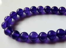 50pcs 8mm Round Gemstone Beads - Malaysian Jade - Dark Purple