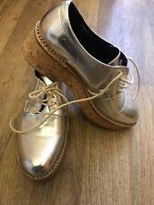 New listing Kurt Geiger leather Gecko metallic silver flat lace up SHOES EU37 UK6 US8.5 bnwb