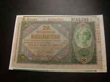 20 Kronen 29. Klassenlotterie Achtellos 5. Klasse Donaustaat Österreich W/18/116