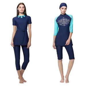 Womens Islamic Muslim Swim Costume Modest Swimwear Burkini Swimming Cropped