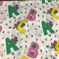 Barney The Purple Dinosaur Vintage 1993 Flat Twin Sheet Alphabet Children's TV