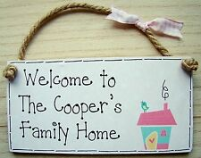 """PERSONALISED Shabby Chic  FAMILY HOME SWEET HOME house warming gift 6x3"""" plaque"""