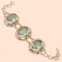 Swiss Sky Blue Topaz Gemstone 925 Sterling Silver Vintage Retro Bracelet Jewelry