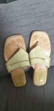 TIMBERLAND GREEB LEATHER THONG SANDALS SZ 8W COMFORIA SYSTEM JUTE LEATHER