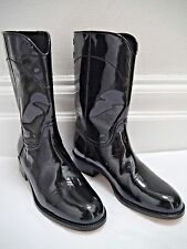 e3b7ac92fdd NEW CHANEL black patent leather stitched logo detail boots size 38