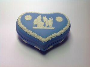 Vintage blue Wedgewood Jasperware heart shaped trinket box, jewellery box