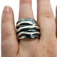 Israel 925 Sterling Silver Electroform 22mm Modernist Ring Size 8