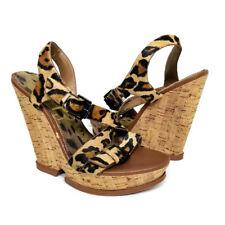886718527f9 Sam Edelman Josie Platform Cork Wedge Sandals 7.5 Animal Cheetah Print Heels
