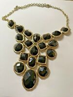"""Vintage 16"""" Black Beads & Gold Tone Statement Necklace NEW!  X258"""