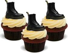 12 Novelty Doctor Dr Martens Black Boots Edible Cupcake Cake Toppers Decorations