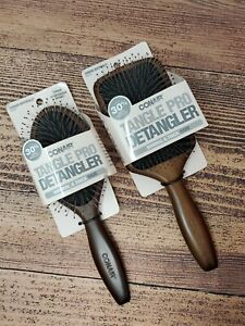 Conair Tangle Pro Detangler Brush Paddle + Oval Set Wood Brown Normal Thick Hair