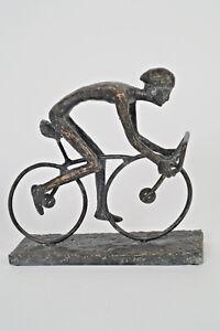 Radrennfahrer aus Polystone ca. 22 cm x 7 cm x 20 cm Braun/Kupfer