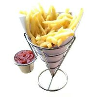 Stainless Steel French Fry Stand Cone Basket Holder For Fries Fish And Chips NEW