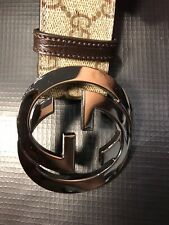 GUCCI LEATHER BELT WITH HEAVY GG BUCKLE 114984 STYLE 100 PERCENT AUTHENTIC