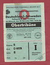 Original Ticket   20.11.1957   GERMANY - SWEDEN  !!  VERY RARE