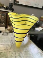 "Zodax Art Glass Yellow And Blue Vase Vessel 10""x8.5"""