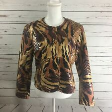 Selene Sport Jacket Blazer Size Ten Leopard Tiger Black Brown Statement