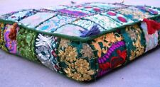 Indian Bohemian Patchwork Large Floor Ottoman Pouf Cushion Pillow Cover Square