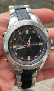 MENS  FOSSIL BLUE BQ-9312 STAINLESS STEEL DUAL TIME STRAP WATCH