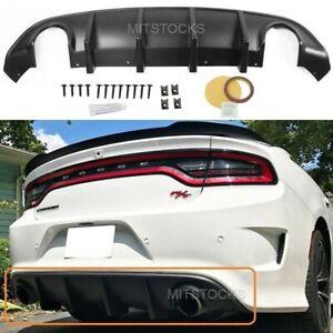 Fits 15-21 Dodge Charger SRT OE Style Rear Diffuser Bumper Lip PP Matte Black