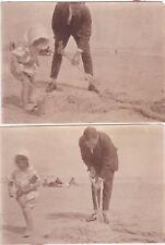 2 OLD PHOTO MAN BEACH SEA CHILDREN GIRL BONNET SPADE SANDCASTLE CIRCA 1920S NB3