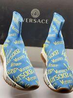 Versace Women's Hercules Vintage Logomania Blue and Yellow Sock Sneaker; Size 40