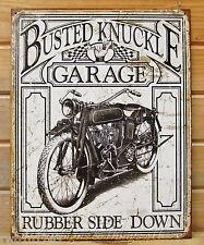 Rubber Side Down Vtg Motorcycle Busted Knuckle Garage TIN SIGN metal decor 1923