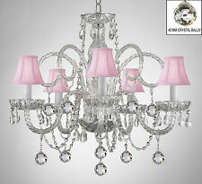 CRYSTAL CHANDELIER WITH PINK SHADES & CRYSTAL BALLS!