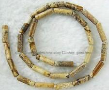 "Natural 4x14mm Tube Yellow Picture Jasper Gemstone Beads15"""