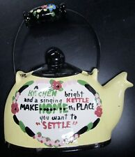 VINTAGE CLEMINSONS CALIFORNIA PORCELAIN SINGING KETTLE TEAPOT WALL POCKET YELLOW